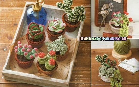 Кактусы и суккуленты крючком. Схемы вязания миниатюрных цветочков, комнатных растений в горшочках, для украшения подоконника на кухне или в другой комнате.
