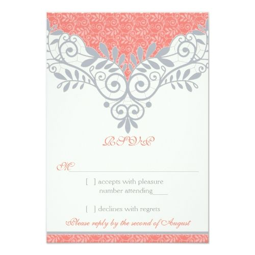 Vintage Coral Silver Grey Lace Wedding RSVP Reply Card