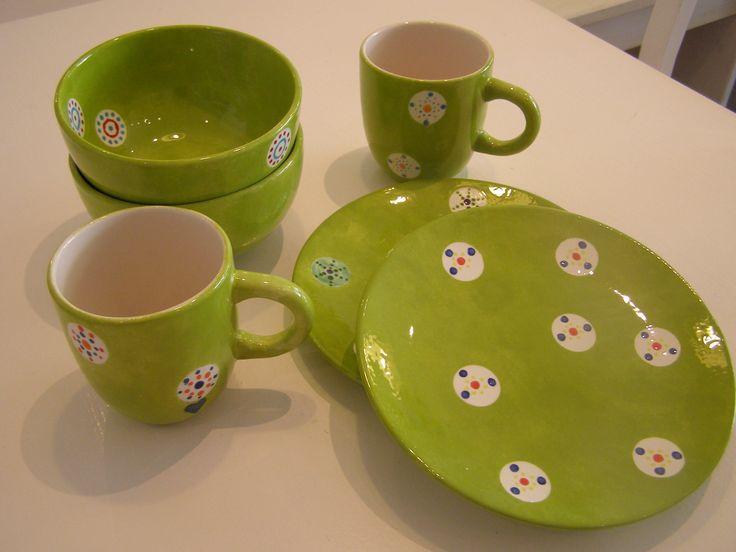 Ergebnis eines JGA im pottery art café. Service handbemalt. Geschenk für die Braut.