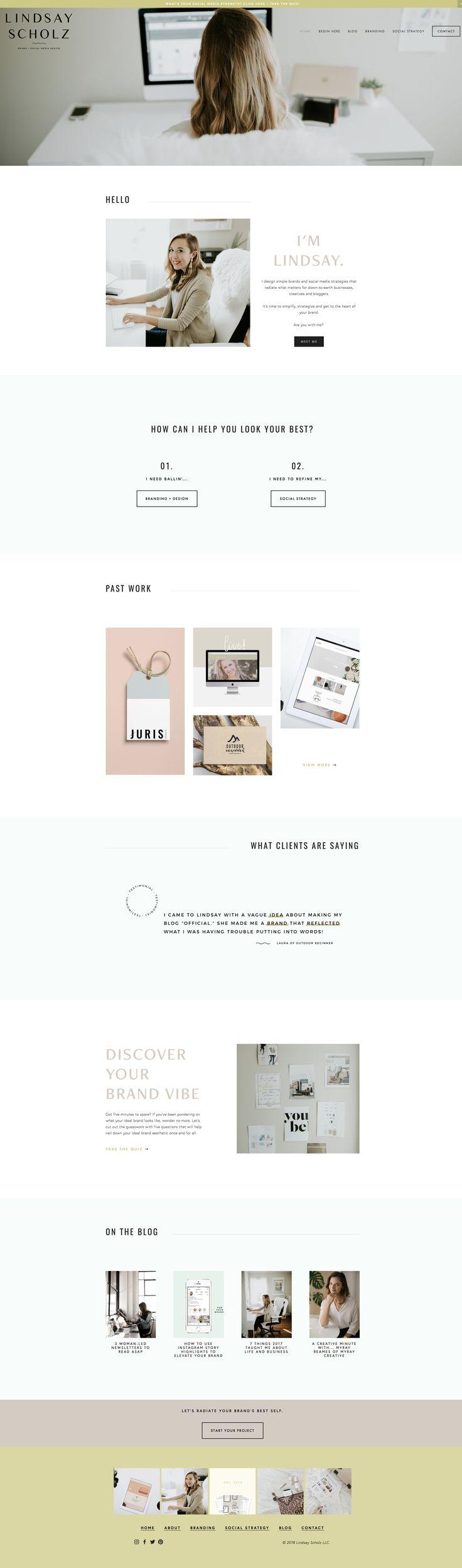 LindsayScholz.com Website Design | squarespace design, web design tips, personal website examples, brand identity, personal brand