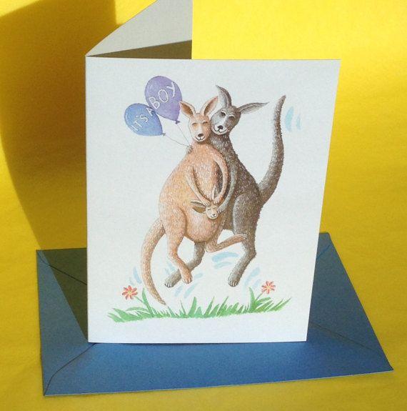 Springen van vreugde wenskaart kangoeroe kaart, nieuwe baby jongen kaart, nieuwe baby kaart, nieuwe aankomst kaart, gefeliciteerd kaart, aquarel kaart