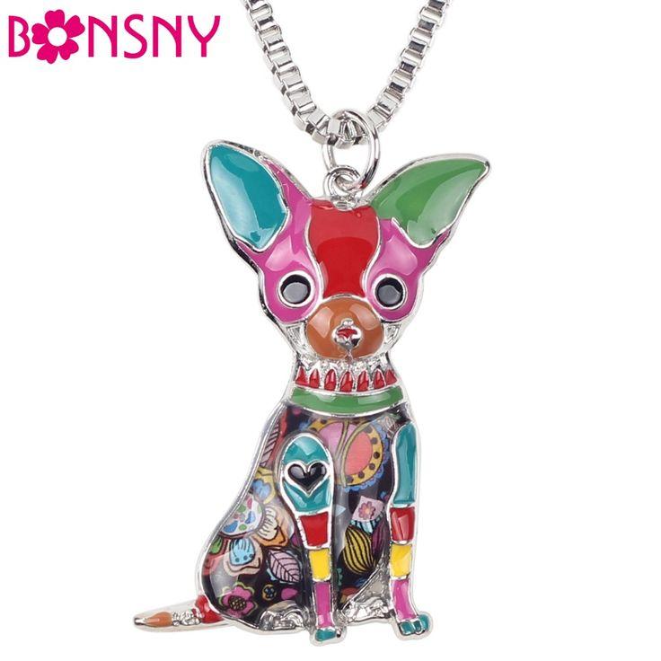 Bonsny Maxi Chihuahuas Perro de Aleación de Metal Declaración Gargantilla Collar de Cadena Pendiente Del Collar de La Moda de Nueva Joyería de Esmalte Para Las Mujeres