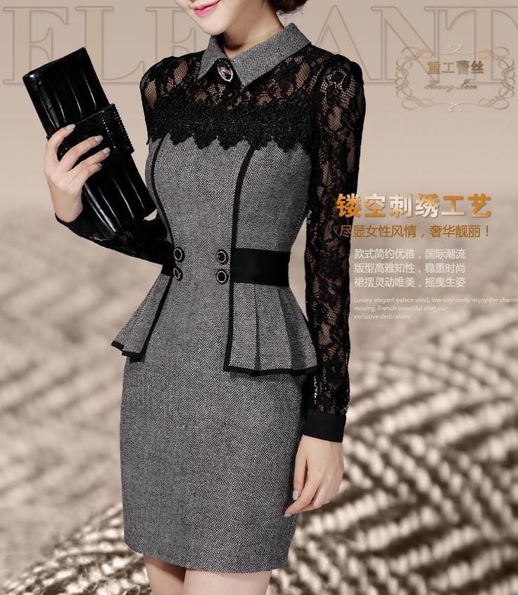 Новый женский весна платье 2015 корейский длинными рукавами платье тонкий тонкая талия кружева шить пакет бедра основывая платье свадебные платья F52530купить в магазине Fashion Affordable BabyнаAliExpress