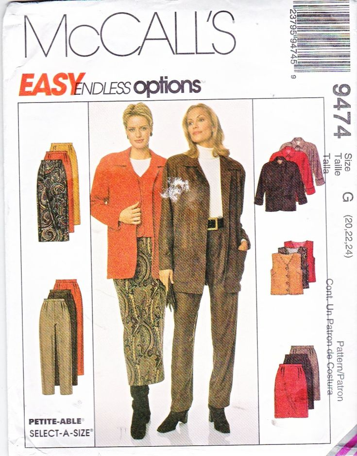McCall's+Sewing+Pattern+9474+Misses+Size+12-16+Easy+Wardrobe+Straight+Skirt+Pants+Vest+Jacket