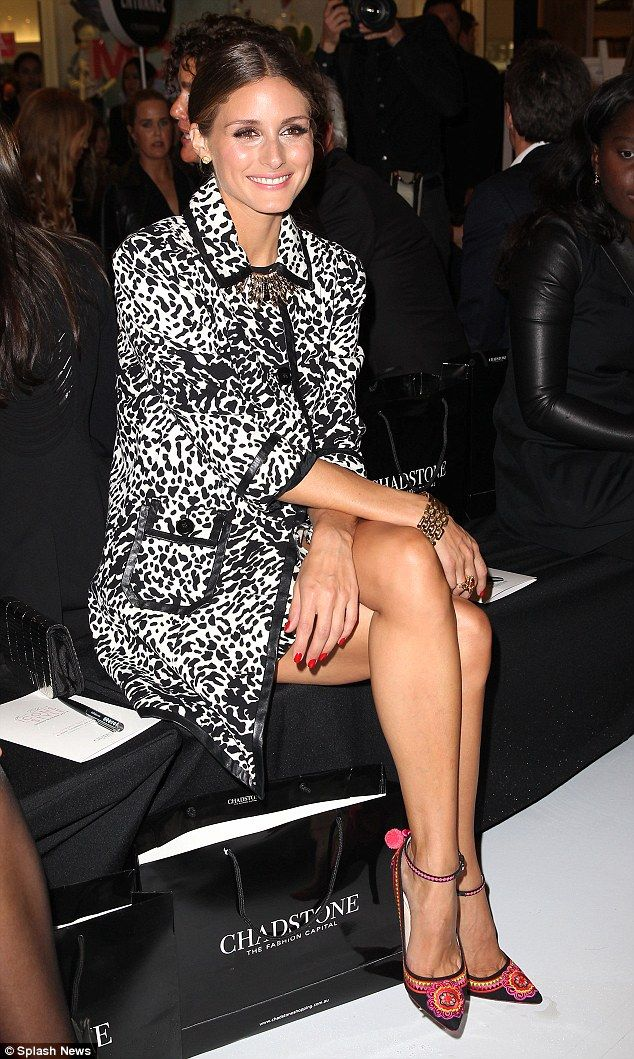 How chic: Olivia Palermo sits front row at the Chadstone Shopping Centre in Melbourne for a fashion show