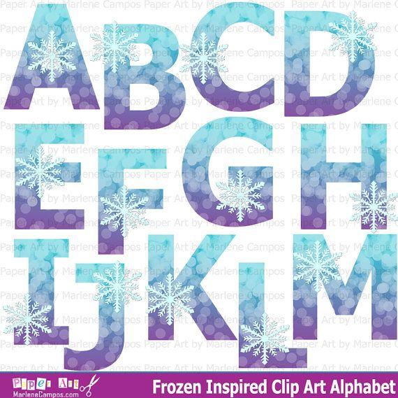 INSTANT DOWNLOAD - Frozen Clipart Alphabet, Frozen Inspired, Frozen birthday, Frozen Clip Art, Birthday Party by Paper Art by MC