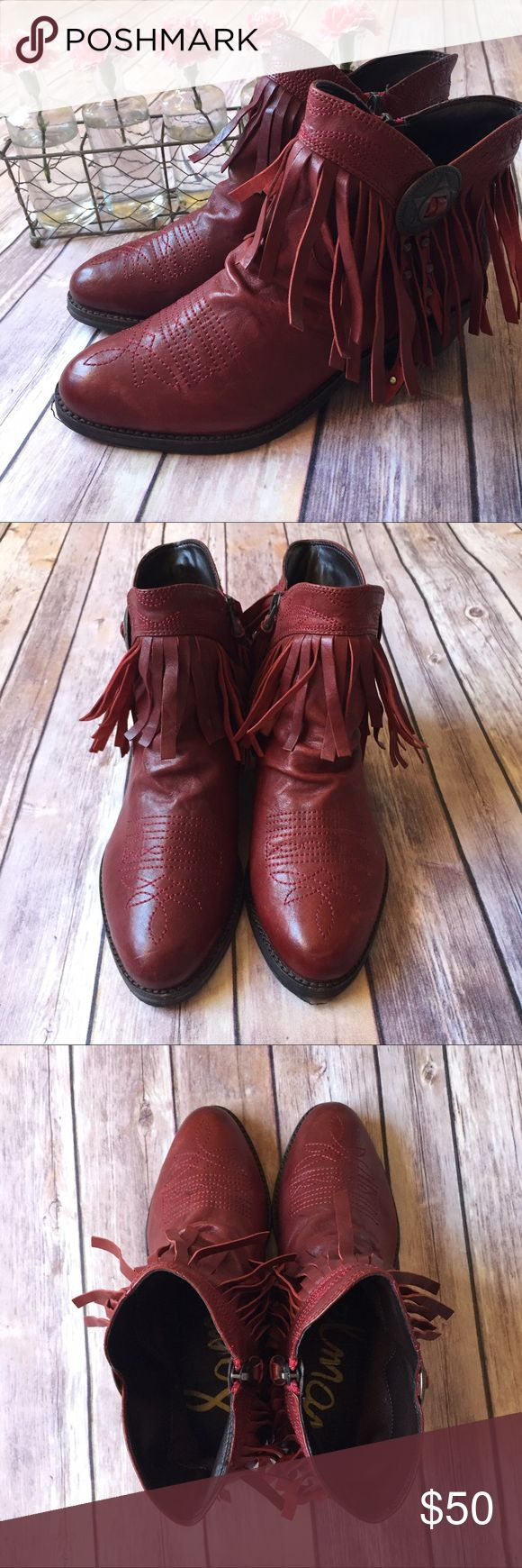"Sam Edelman Women's Red Sidney Fringe Boot Fringe and studs Marshall Western inspiration into a short boot. Approx. heel height 2"". Leather upper/synthetic lining and sole. Two strands of studded fringe drop from a lone star ornament that is truly Texas. EUC, no box.   ⭐️ Bundle & Save, Posh Rules Only ⭐️ All Offers Accepted or Countered ⭐️ Smoke and Pet Free Environment Sam Edelman Shoes Ankle Boots & Booties"