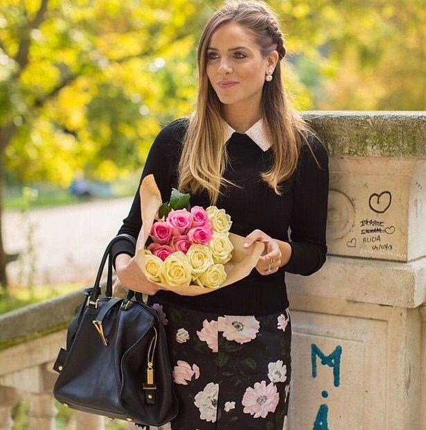 eyeliner, black floral skirt, black sweater or longsleeve, sidebraid {fall or spring}