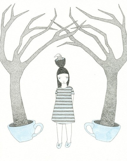 Wandering amongst the blue teacup trees by Catherine CampbellTeacups Forests, Teas Time, Teacups Trees, Blue Teacups, Rose Flower, Teas Cups, Illustration, Printcatherin Campbell, Catherine Campbell