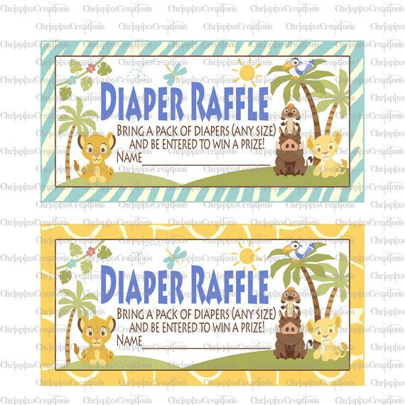 Lion King Baby Shower Diaper Raffle Ticket by ChrispixsCreations, $6.00