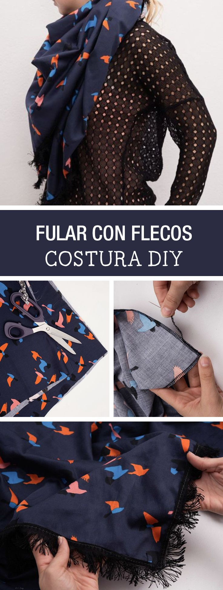 Tutorial DIY - CÓMO HACER UN FULAR GRANDE CON FLECOS EN 10 MINUTOS en DaWanda.es