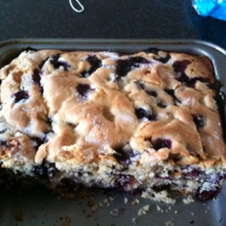 """Made this blueberry cake this afternoon, just delicious. Recipe is on the """"want to make"""" board."""