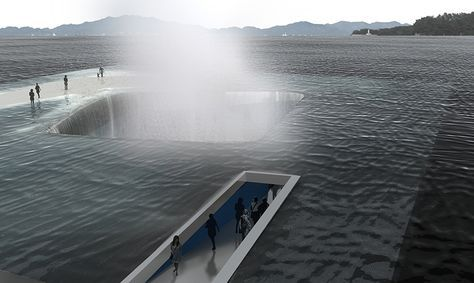 daniel valle's water pavilion proposal invites users for a walk towards the ocean - this proposal for the 'thematic pavilion' of expo 2012 yeosu in south korea by daniel valle architects endeavors to be constructed upon water movement and to represent the significance of life. the pavilion is not an architectural object in relationship with the water but rather a nautical construction shaped by the movement of water (designboom)