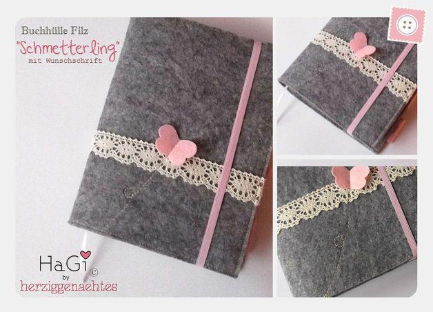 Buchhüllen - Buchhülle Schmetterling Filz Kalenderhülle - ein Designerstück von herziggenaehtes bei DaWanda