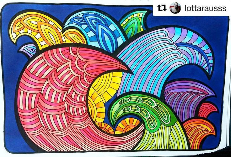 """Mental Images Coloring Books (@paivivesala_art) on Instagram: """"We were visiting Xi'an China last week, and these colors reminds me of that lovely city 💙💚💛❤️💜…"""""""