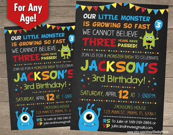 Little Monster Invitations Monster Birthday Little by ChalkyPrints