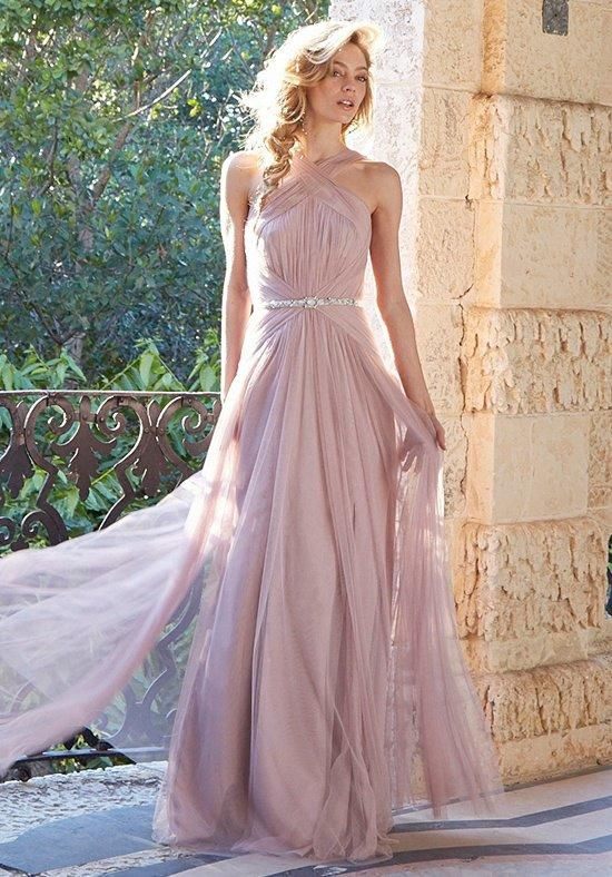 A-line halter bridesmaid dress with sheer crisscross front straps and contoured draping above and below waist | Jim Hjelm Occasions | https://www.theknot.com/fashion/5515-jim-hjelm-occasions-bridesmaid-dress
