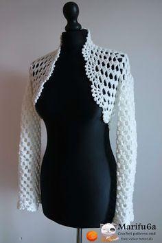 Free crochet patterns and video tutorials: How to crochet bridal easy bolero, granny square, cardigan, #haken, gratis patroon (Engels), bolero, vest, granny, #haakpatroon, zomer