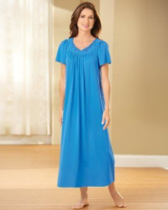 Miss Elaine Embroidered Tricot Long Nightgown, Sapphire, 1X Miss Elaine. $29.35