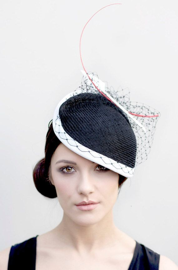 Black Hat, Ladies Hat for the Races, Black and White Wedding Hat, Straw Summer Hat - Sina