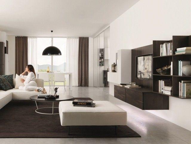 25-idées-conseils-meuble-tv-suspendu-bois-foncé-petite-bibliothèque