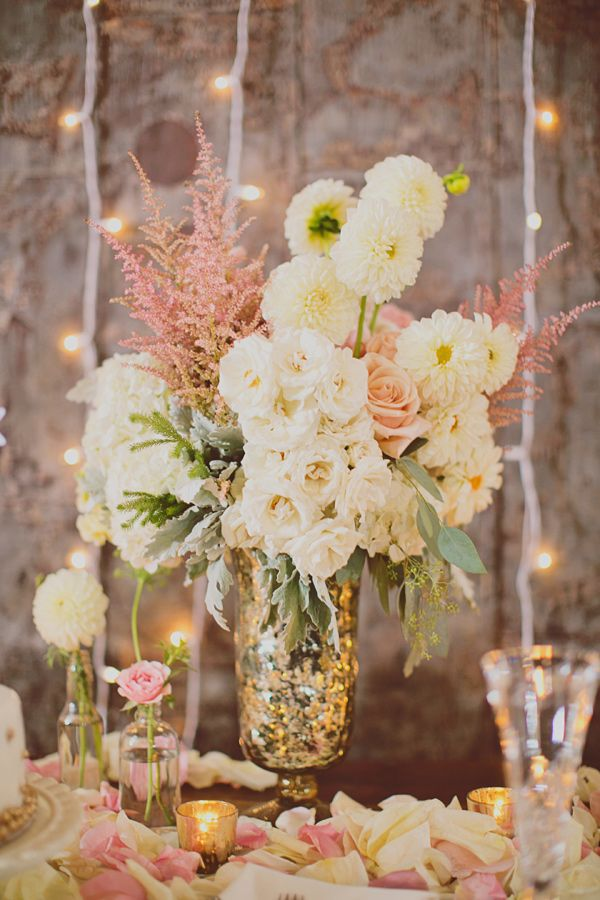 Soft pink centerpieces in mercury glass vases | Photo by Our Labor of Love by Heidi, Styling by Jackie Gregory Charming Socials