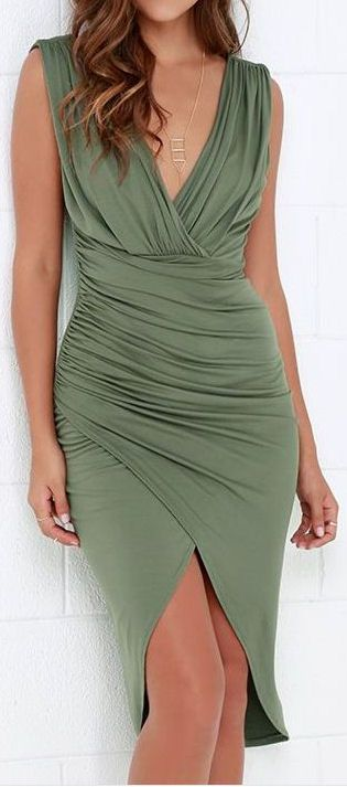 Olive Green High-Low Wrap Dress