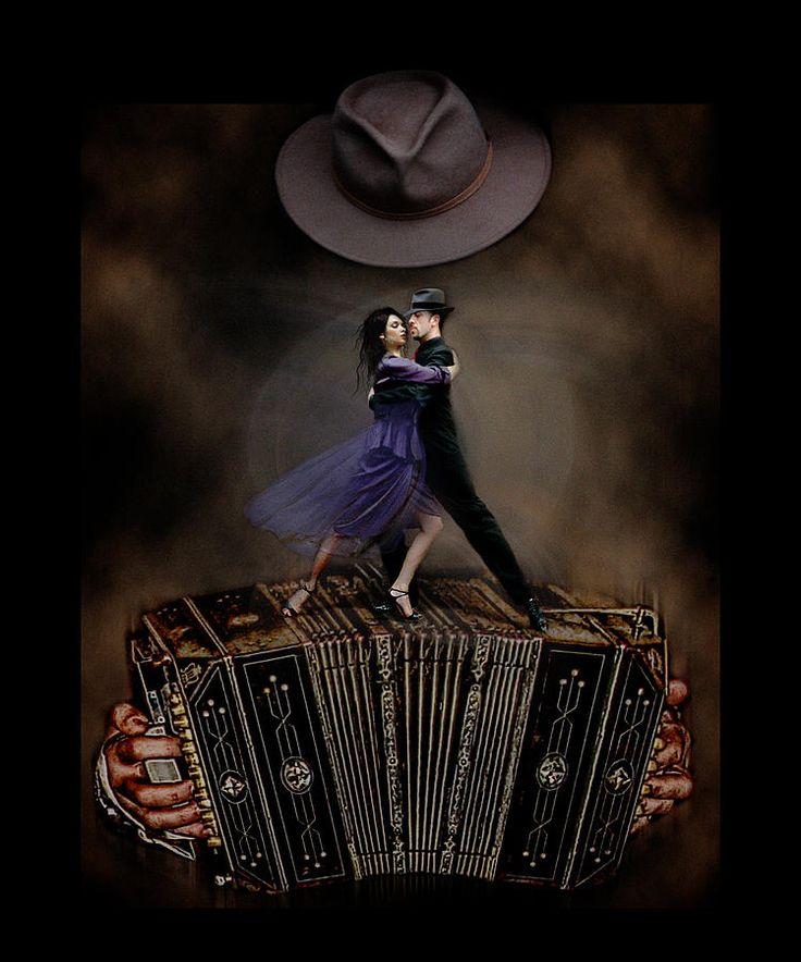 Couple Dancing On Top Of Bandonion/concertina Photograph - Fantasia Tanguera by Raul Villalba