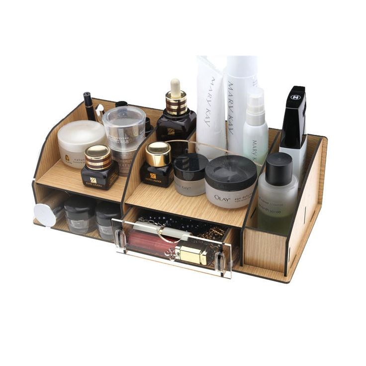 Acrylic Wooden Makeup Organizer Diy Desktop Storage Box