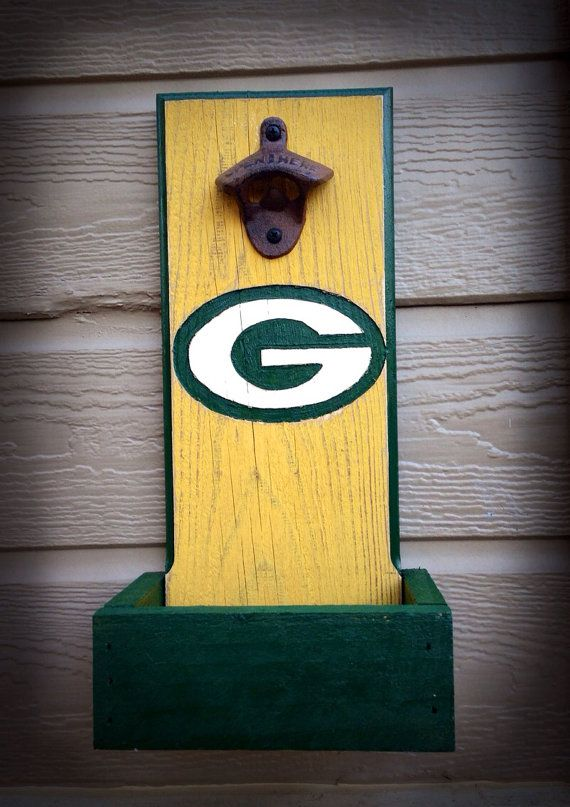 Greenbay Packers bottle opener with cap catcher