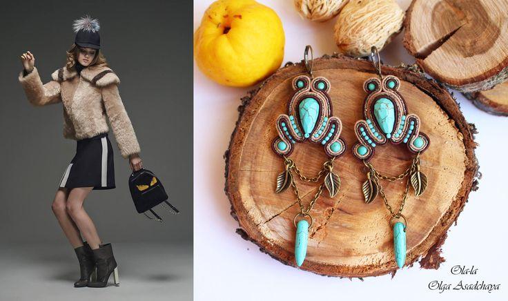 """Earrings """"Wind of wanderings"""" Sutazhnaya embroidery, turquoise, govlity, Japanese seed beads, metal elements"""