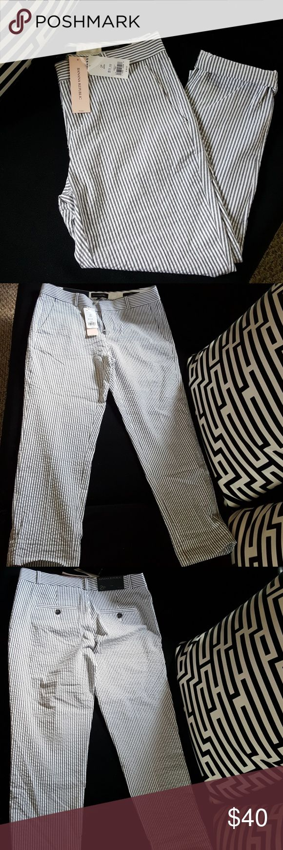 Banana Republic Avery Fit Pants Gray striped petite sized pants. Can be cropped for a person a size 4. Lightweight cotton, great for summer. Can be dressed up or down. FIRM ON PRICE!! PLEASE BE CONSIDERATE AND REMEMBER SHIPPING COSTS ARE TAKEN OUT OF PROFIT.  THANKS A BUNCH♡ Banana Republic Pants