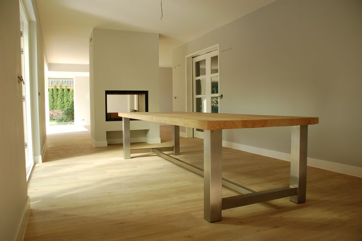 Eiken tafelblad 6 cm met RVS onderstel