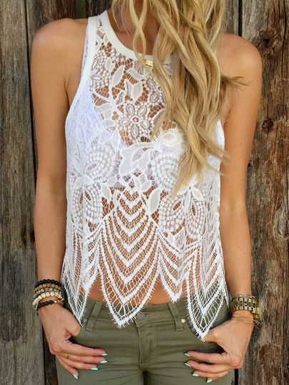 White Crochet Lace Tank Top