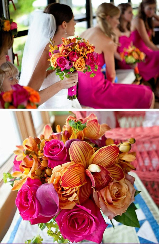 Orange Lily and Hot Pink Roses   Hot Pink Spring Wedding63 best Hot Pink  Orange    Lime Green Wedding Theme images on  . Orange And Lime Green Wedding Theme. Home Design Ideas