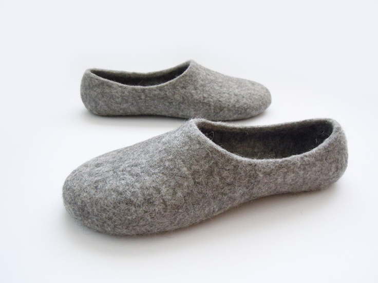 natural grey felted slippers - gotland sheep's wool + natural latex sole