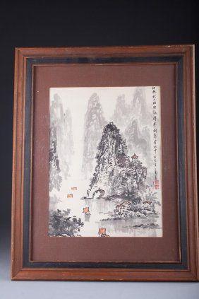 Chinese Painting Mountain Landscape Signed