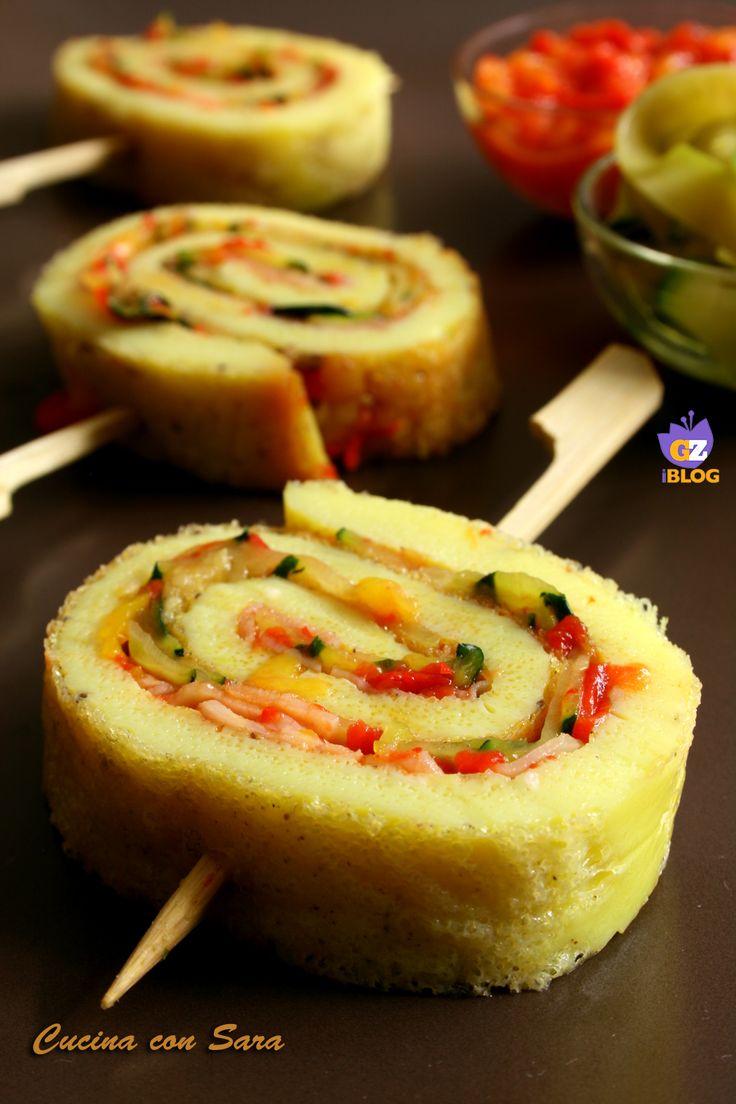 Girelle di frittata zucchine e peperoni