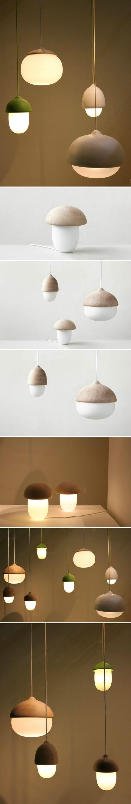 芬兰设计师 Maija Puoskari 设计的灯具Terho and Tatti,用人工吹制的玻璃和芬兰本地桤木制作而成。
