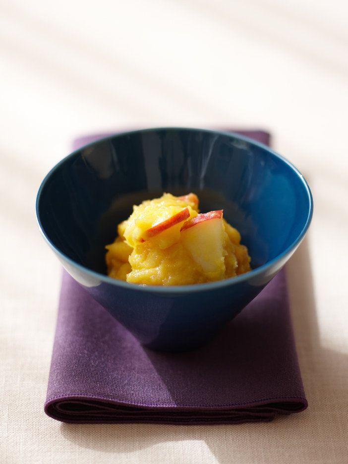 安納芋の甘さだけでいただくきんとんは、酵素ジュースを加えることで熟成したような深みのある味わいに。栗の代わりにりんごを使えばお手軽でヘルシー!|『ELLE a table』はおしゃれで簡単なレシピが満載!