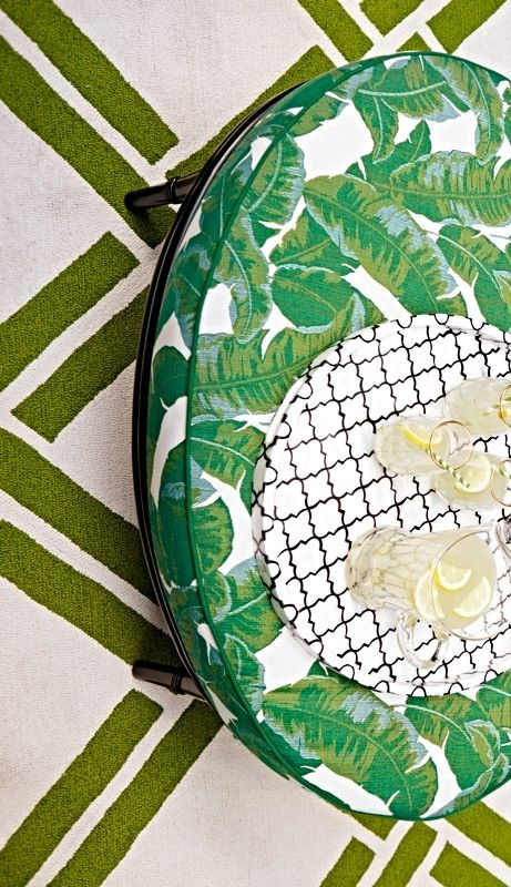 A Latticework Of Lines Comingle To Create Vibrant Tropical Design In Our Bamboo Outdoor Rug