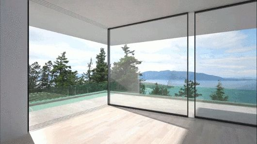 These Glass Walls Slide Around Corners to Disappear From View | ArchDaily