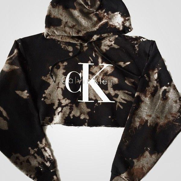 Reworked CK Dye Crop Hoody (€47) ❤ liked on Polyvore featuring tops, hoodies, bleach hoodie, hooded sweatshirt, hoodie crop top, crop top and cropped hoodies