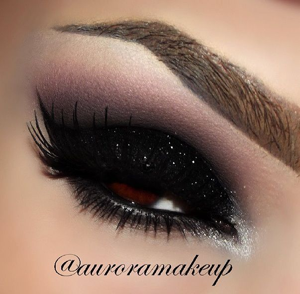 Black glitter eyeshadow | Hair, Nails, and Makeup | Pinterest