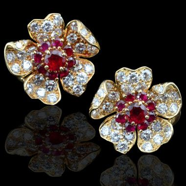 CARTIER.c1960's.Burma ruby & diamond 18ct yellow gold flowerhead earrings  July birthstone - Ruby   http://www.hancocks-london.com/acatalog/info_EAR119692AM.html