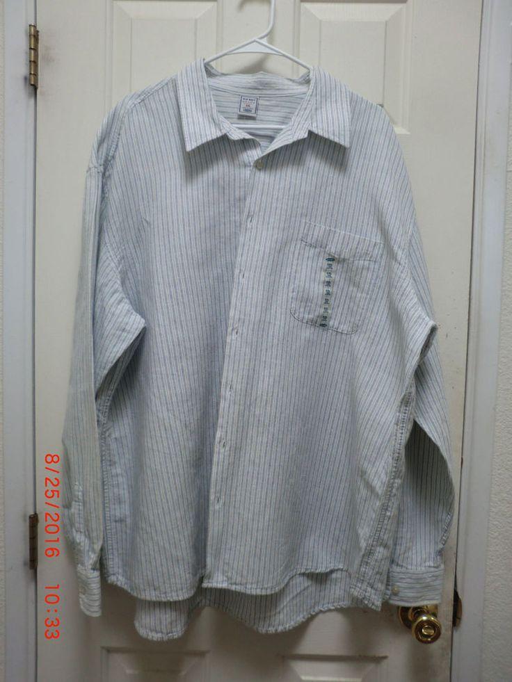 Men 39 s old navy xxl long sleeved pin striped blue and white for Navy blue striped long sleeve shirt