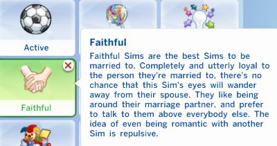 "verysimmly: "" custom trait: faithful + works better with sims already married + hardly any romance increase + will want to interact with family more + don't get flirty download """