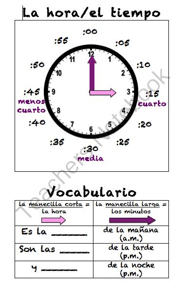 Spanish Telling Time Poster (La hora) from Sra Ward on TeachersNotebook.com - (1 page) - Spanish Telling Time Poster (La hora)