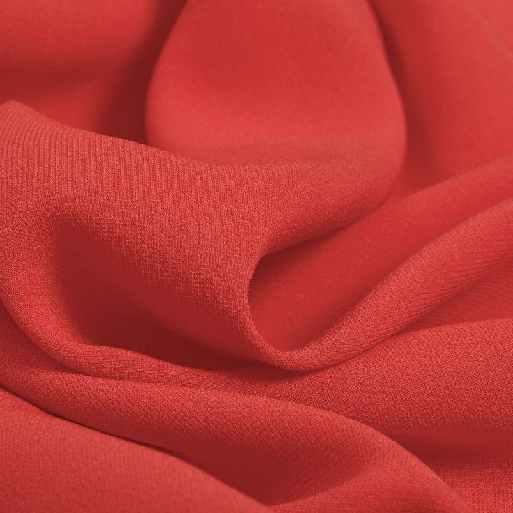 Вискозный креп стрейч красно-кораллового цвета