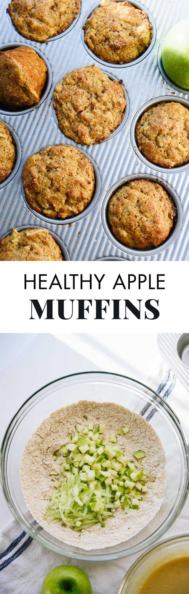 No one will suspect that this fluffy cinnamon apple muffin recipe is healthy, too! They're the best. cookieandkate.com